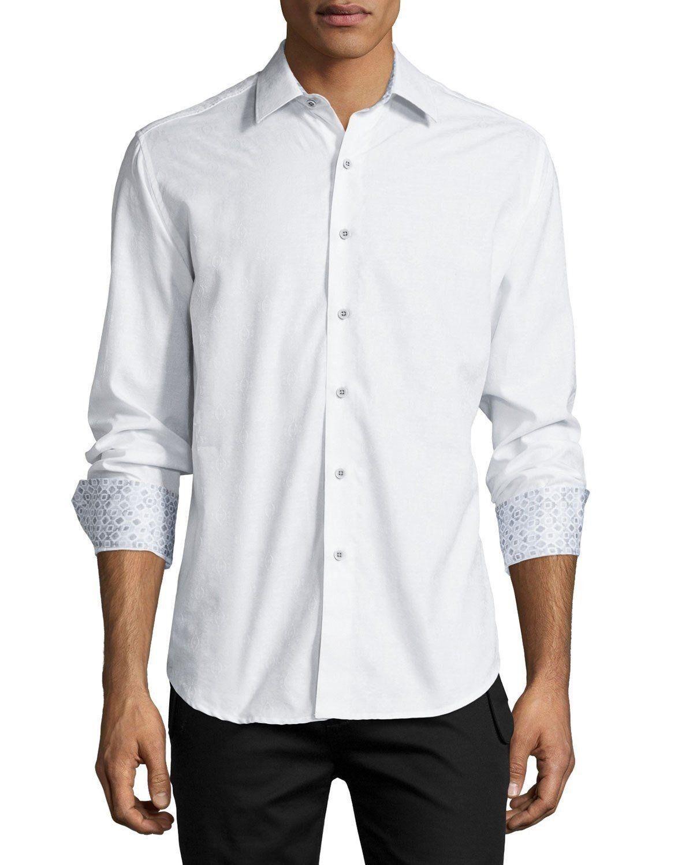 Robert Graham Cullen Long-Sleeve Jacquard Sport Shirt White NWT M L  NWT