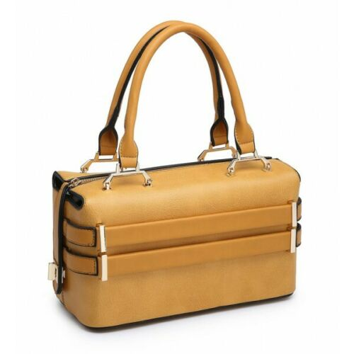 New Women/'s Ladies Elegant Box Shape Dual Handle Hand Bag With Belted Details