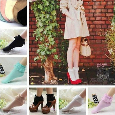 Lady Girl Frilly Dot Princess Lace Socks Short Low Ankle Stockings Soft Ruffle