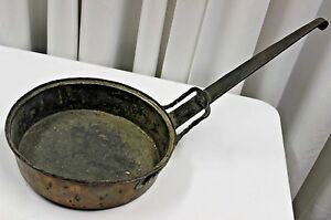 Antique Rustic Decorative Copper Frying Pan With Iron