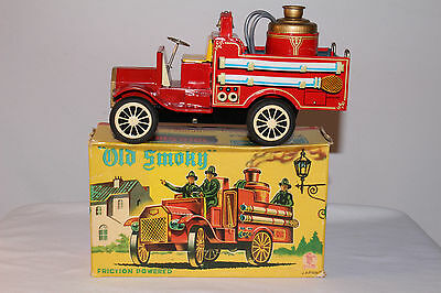 1920's Old Smoky Firetruck, Tin Friction, Cragstan Toys, Boxed, Made in Japan