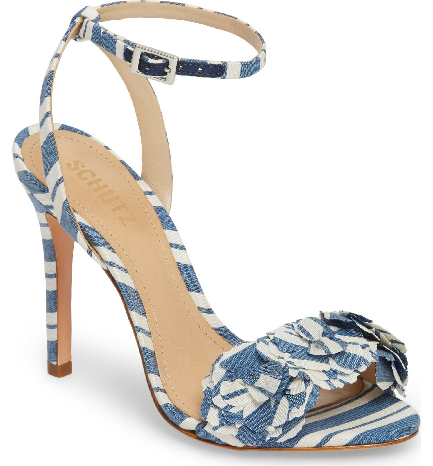Schutz Aida Dress blu New Stripe High Heel Pump Flower Appliqué Stiletto Sandal