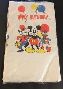 Vintage Mickey Mouse Birthday Tablecloth Paper 54 X 88 New In
