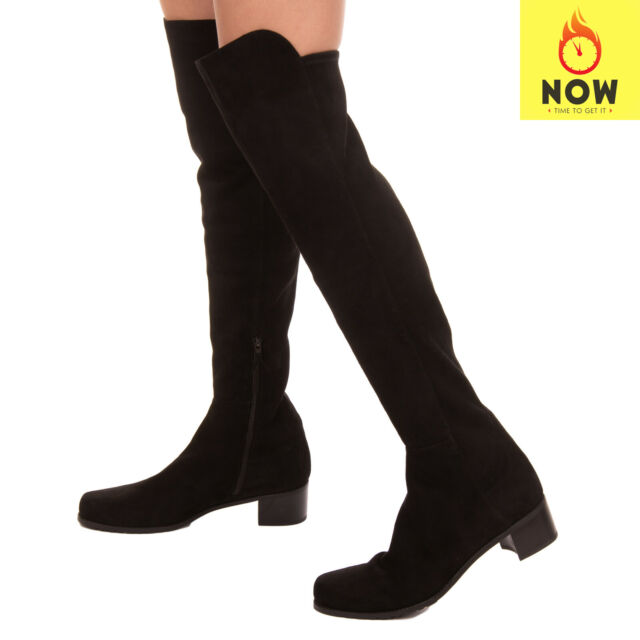 RRP €885 STUART WEITZMAN Leather Over Knee Boots Size 37 UK 4 US 6.5 Zipped