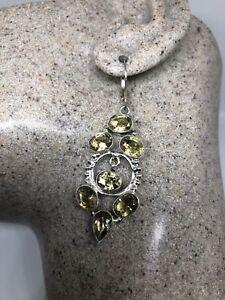 Vintage-Genuine-Gold-Citrine-Drop-925-Sterling-Silver-Earrings