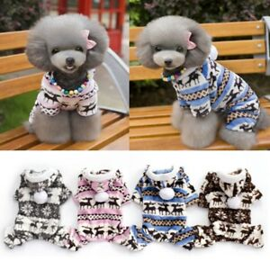 Pet-Dog-Winter-Warm-Hoodie-Coat-Clothes-Puppy-Jumpsuit-Xmas-Snowflake-Apparel-US