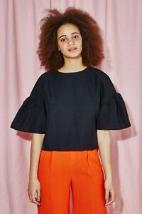THE-WHITEPEPPER-Hipster-Black-Button-Back-Ruffle-Sleeve-Top-20D248