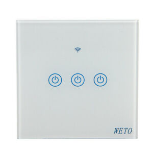 3-Gang-WiFi-Smart-Touch-Panel-Power-Switch-Wall-Light-Voice-Remote-Control