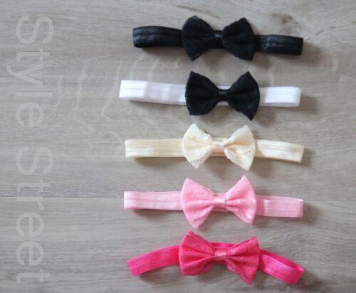 Baby Stirnband Lace Schleife Haarband Kopfband Taufe Fotoshooting Geburtstag
