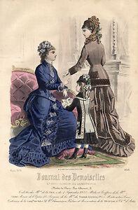 """5/ Gravure De Mode """" Journal Des Demoiselles """" 1878 Superbes Couleurs !"""