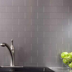 Details about Peel and Stick Tile Kitchen Backsplash Metal Wall Tiles,  Silver Subway, 32Pack