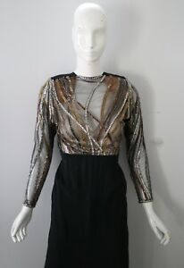 Vintage Bob Mackie Black Illusion Beaded Sequin Evening Gown Column Dress S 80s by Bob Mackie