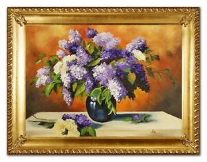 Oil-Painting-Plant-Real-Hand-Painted-Made-with-Frame-Pictures-G96378