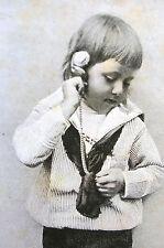 Ticking Pocket Watch CHILD LISTENING to Clock TICK TOCK - 1891 Art Print Matted