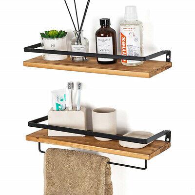 2Pc Floating Shelves Wall Mount Wood Kitchen Bathroom Metal Bracket + Towel  Rod | eBay