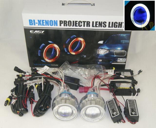 35W 6000K Motorcycle HID Bi-Xenon Headlight Projector Halo Angel Devil Eye Blue