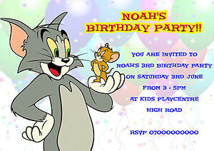 40 personalised childrens birthday invitations tom and jerry kids image is loading 40 personalised childrens birthday invitations tom and jerry filmwisefo