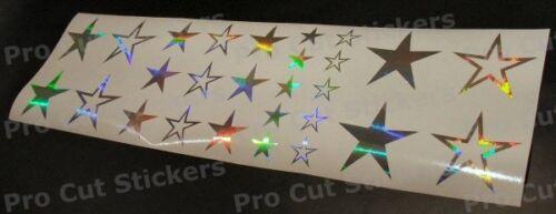 Silver Chrome Hologram Vinyl Star x27 Stickers Decals For Car Van Bedroom Walls