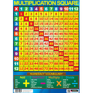 Sumbox multiplication square educational x times tables maths poster wall chart 5060293720981 ebay - Poster table de multiplication ...