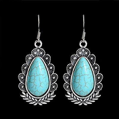 Vintage Fashion Turquoise Drop Dangler Woman Hook Earrings Jewelry Mother Gift