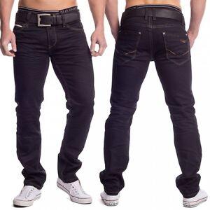 Jeans-d-039-homme-noir-denim-de-couleur-Slim-Straight-Fit-Pantalons-Jambe-stretch