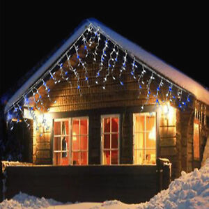 Icicle Christmas Lights.Details About 480 Led White Blue Icicle Christmas Lights Snowing Hanging Indoor Outdoor Use