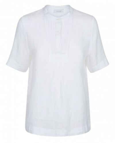 Pin Placket Brand U Top 16 With New Jaeger White k Linen Tags Tuck 5aWOA