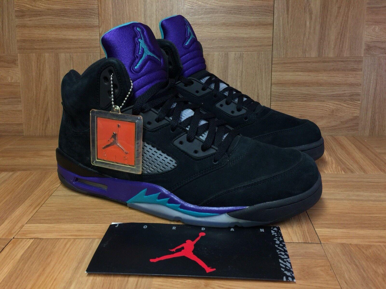 RARE Nike Air Jordan 5 V Black Grape New Emerald Sz 14 136027-007 Men's shoes