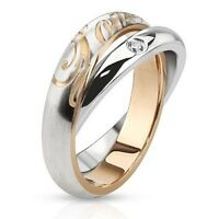Stainless Steel Rolling Band Ring Single Cz Paved With love Engraved Band Ring