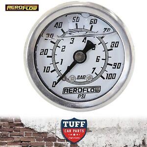 Aeroflow-White-0-100-PSI-Liquid-Filled-EFI-Fuel-or-Oil-Pressure-Gauge-1-8-034-NPT