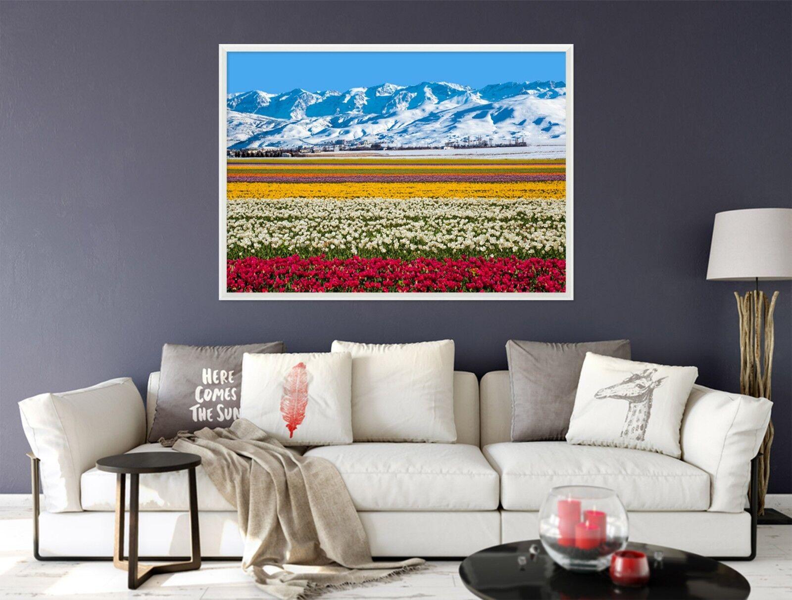 3D Berg Blaumenmeer 6 Gerahmt Poster Daheim Dekor Drucken Malerei Kunst AJ