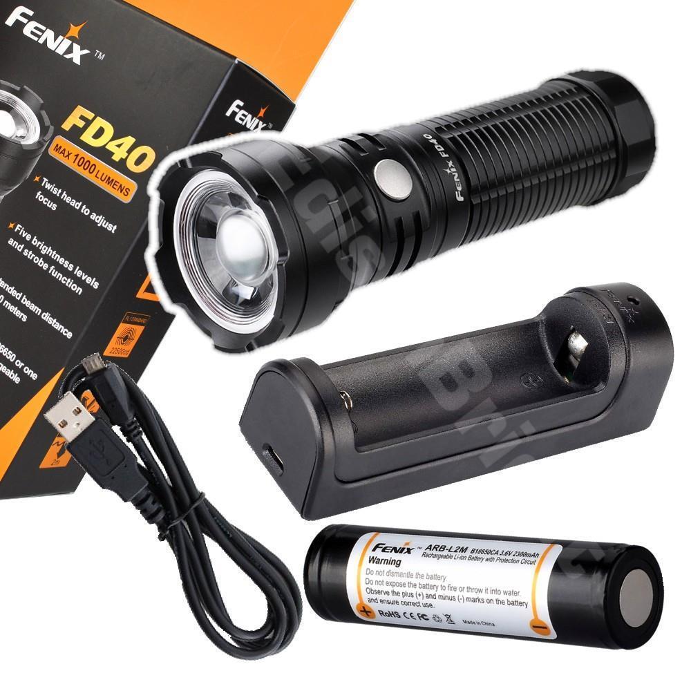 Fenix FD40 lumen CREE LED 1000 lumen FD40 variable focus flashlight with rechargeable kit 47e4c1