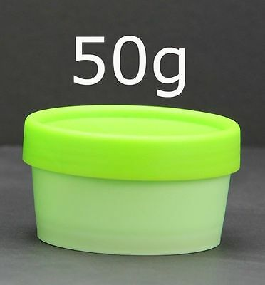 Empty Plastic Jars Pots Containers 50g / 100g White Black Pink Yellow Green