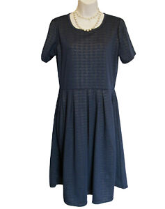 LuLaRoe AMELIA Dress Size L 14 16 (XL) Navy Gold Knit Stretch Pockets Pleats