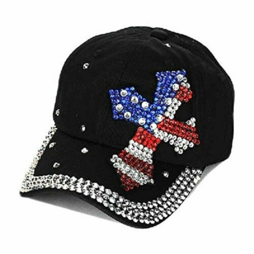 Bling America USA Patriotic Flag July 4th Cross Cap Texas Hat Denim Blue Black