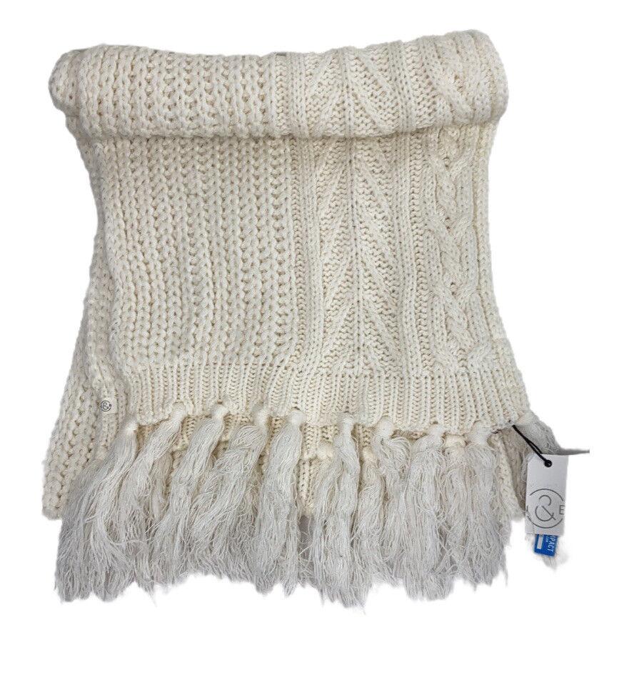 Treasure & Bond Fringe Cable Knit Scarf In Cream