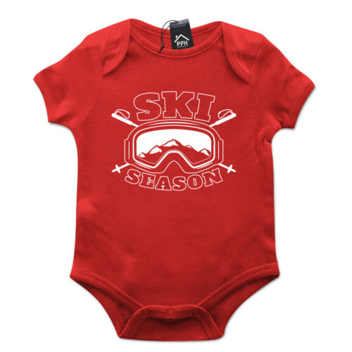 Snow Season Skiing Funny Ski Top Babygrow Gift Baby Grow Newborn Snowboard 492
