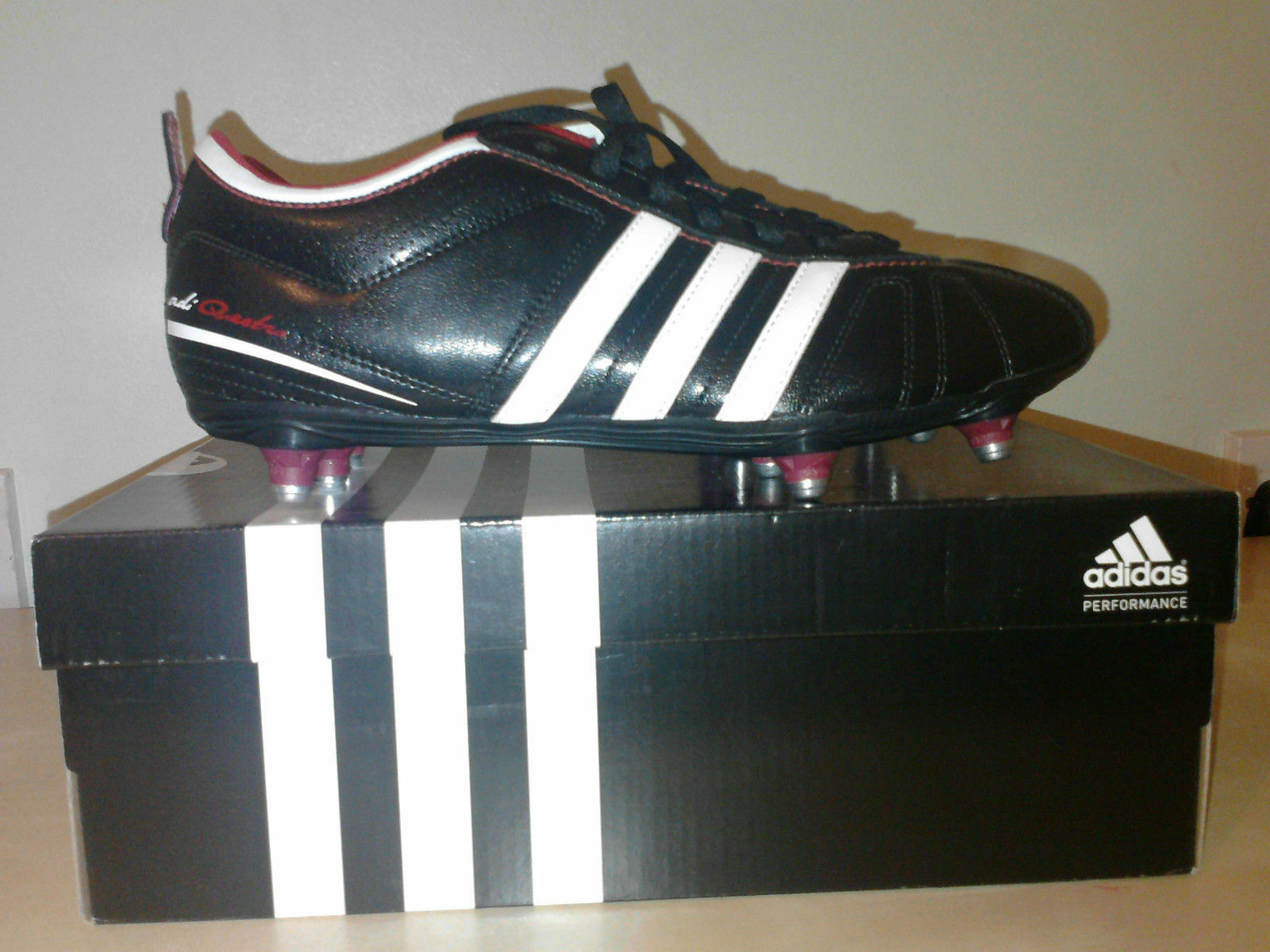 NEW ADIDAS QUESTRA SG SOFT GROUND FOOTBALL SHOES SIZE BLACK/WHITE/RED