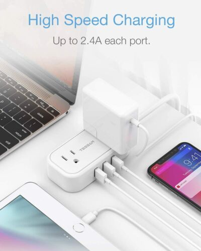 Mini Flat Plug Power Strip with 5 ft Extension Cord 2 Outlets and 3 USB Ports