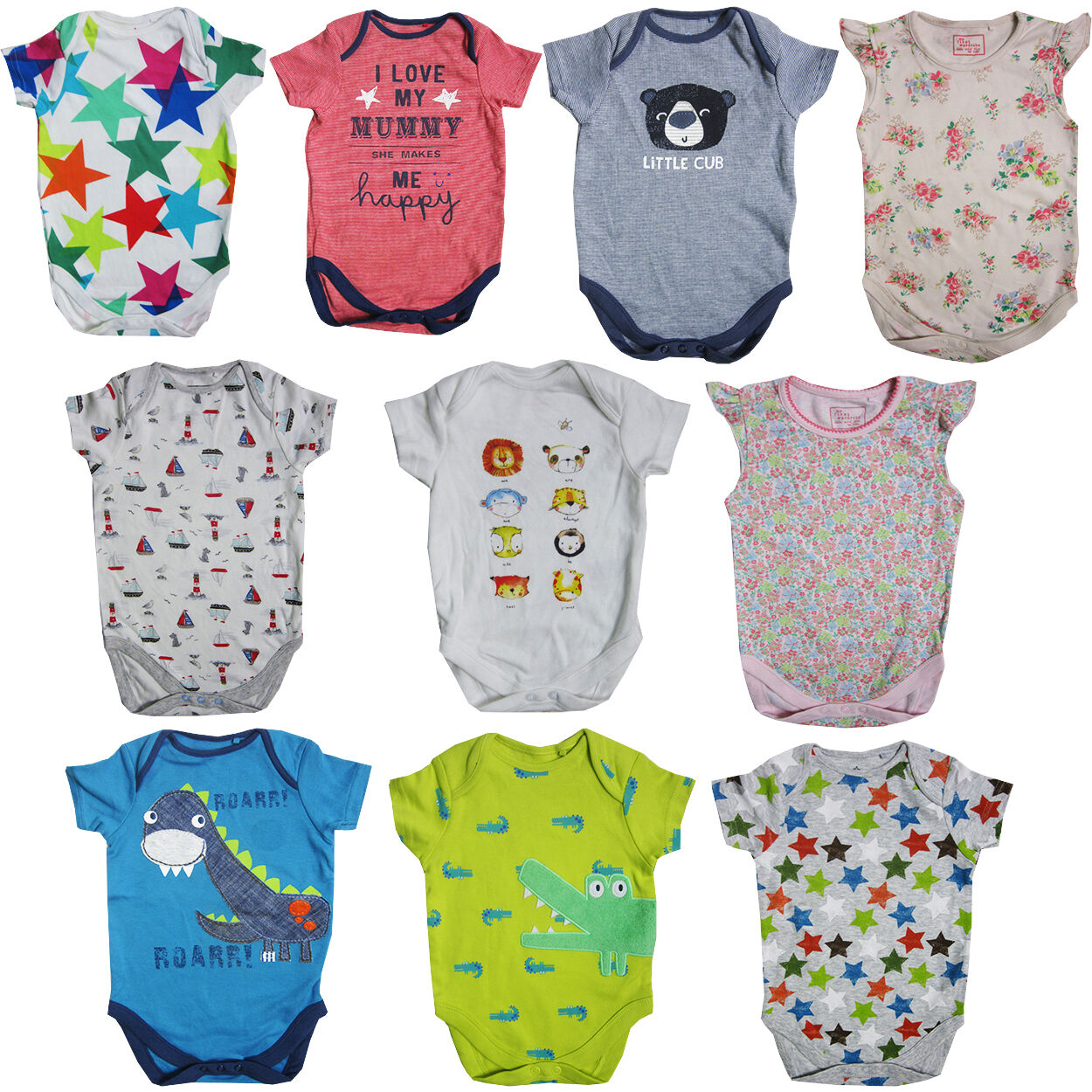 """Details about BABY BOYS GIRLS """"EX STORE"""" VESTS SHORT SLEEVE/LONG SLEEVE  BODYSUIT"""
