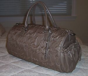 Image is loading New-Juicy-Couture-QUILTED-NYLON-Duffle-Bag-COCOA- 2819739aa4cb