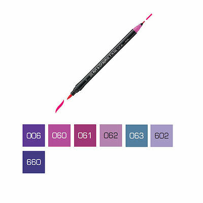 ZIG Art and Graphic Twin Tip Brush Marker Pen - Purple Colours