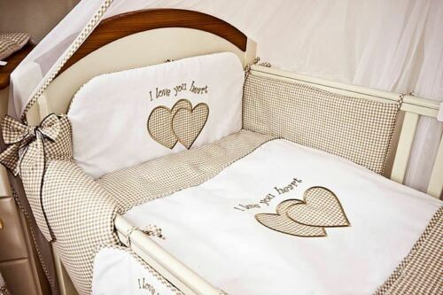 Plain Heart Cot Bed 5 Pcs Embroidered Baby Nursery Bedding Set To Fit Cot
