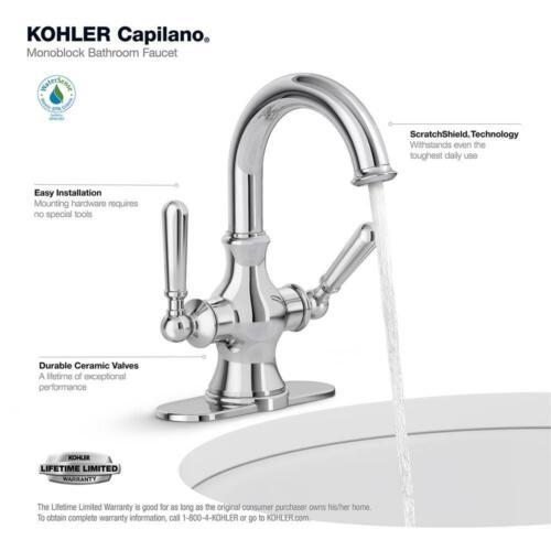Details about  /KOHLER Bathroom Faucet 4 In Centerset Double Handle Single Hole Standard Chrome