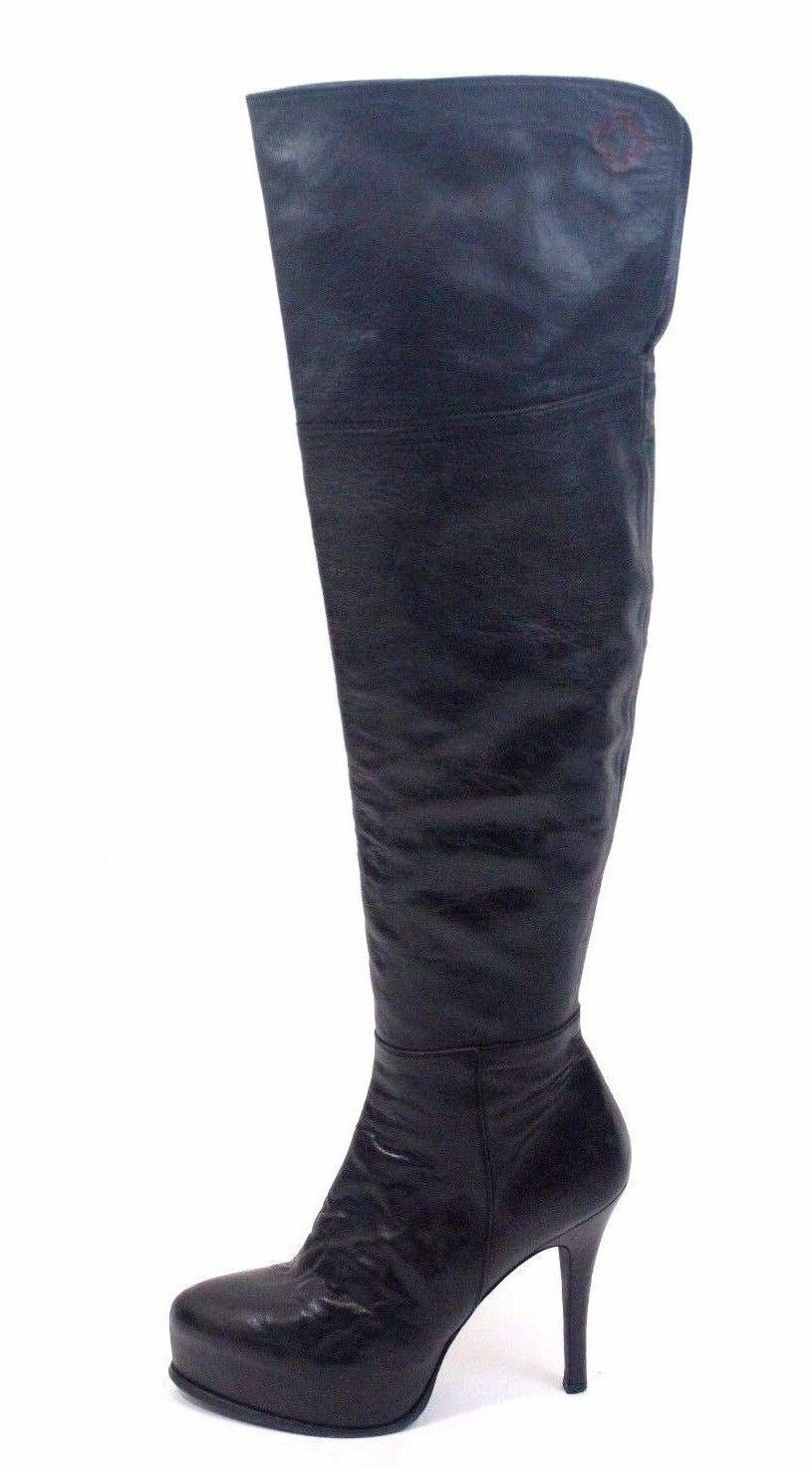 A.F. Vandevorst at Paris Fashion Week  Black Leather Boots Over The Knee Size 40