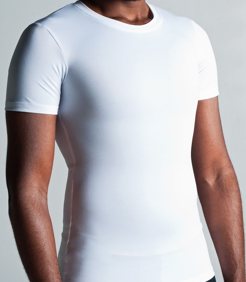 Compression T-Shirt for Gynecomastia Undershirt 3X-LARGE 6pk Value Weiß