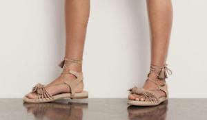 398-size-10-Stuart-Weitzman-Flowerpot-Cashew-Suede-Gladiator-Sandals-Shoes