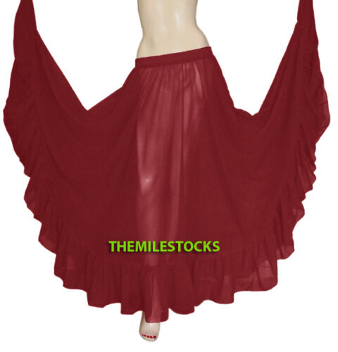 Salmon 25 Color TMS Ruffle Full Circle Skirts Belly Dance Gypsy Flamenco