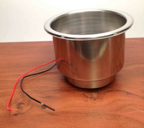 """# MARINE BOAT RV TRUCK STAINLESS STEEL LED BLUE CUP DRINK HOLDER 1//4/"""" DRAIN TUBE"""