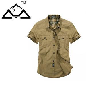 Hombres-Camisas-Mangas-Cortas-Camisa-de-carga-de-trabajo-del-Ejercito-Militar-Algodon-Camisa-Prendas